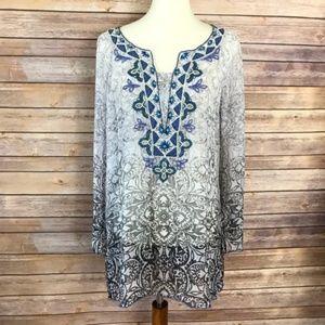 WHBM Embellished Printed Chiffon Silk Tunic Sz M